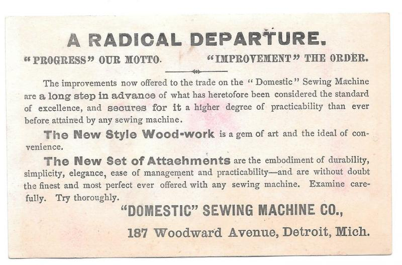 Victorian Trade Card Domestic Sewing Machine Detroit MI Jack and Jill Pails