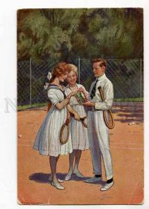 264757 Young Girl TENNIS by BORRMEISTER Vintage postcard