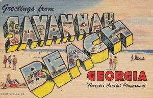 Large Letter SAVANNAH BEACH , Georgia , 1930-40s