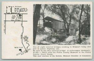Sedalia Missouri~Covered Bridge over Flat Creek~Map & Information on Card~1958