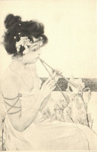 PC CPA KIRCHNER, ARTIST SIGNED, LADY WITH FLUTES, ART NOUVEAU, D29-4 (b2269)