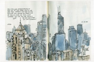 Hong Kong Skyscrapers Aerial Stunning Sketch Painting Postcard