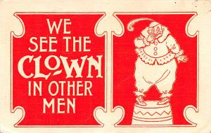 Circus Clowns Acts Old Vintage Post Cards We see the clown in other men 1907