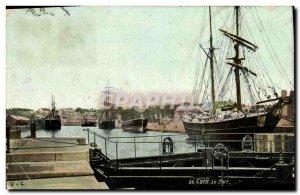 Old Postcard Caen Port Boat