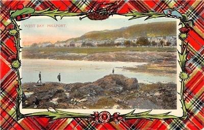 West Bay, Millport, Great Cumbrae, Scotland Plaid Border c1910s Vintage Postcard