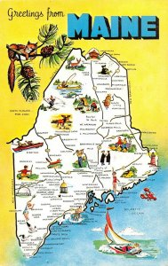 LPM57 Maine Map Chrome Postcard The Pine Tree State