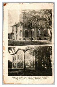 Public School West Bldg. City Hall Harper Kansas Vintage Standard View Postcard
