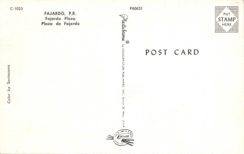 FAJARDO PUERTO RICO~FAJARDO PLAZA-PLAZA de FAJARDO-SANTACANA POSTCARD