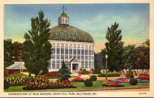Maryland Baltimore Druid Hill Park Conservatory At Rose Gardens 1946Curteich