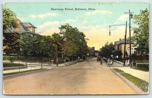 Bellaire Ohio~Harrison Street Homes~Children on Corner~Hanging Lamp~Car~1911 PC