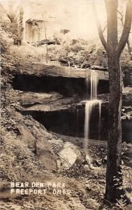 E72/ Freeport Ohio Real Photo RPPC Postcard c1910 Bear Den Park Cave