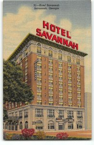 Hotel Savannah on Johnson Square, Savanna GA - 1951 Teich Linen Postcard
