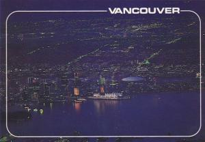 Canada Aerial View From Grouse Mountain At Night Vancouver British Columbia