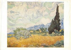 Art Postcard, Cornfield with Cypress Trees (1889) by Vincent Van Gogh 71Q