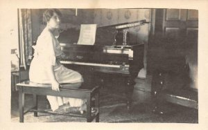 RPPC Woman Playing Piano Music Edwardian Photo Vernacular 1910s Vintage Postcard