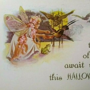 Antique Halloween Postcard Fairy With Wings Owl Frog Bats Gibson Fantasy Unused