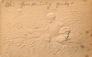 Diving Bathing Beauty Postal Used Unknown writing on front, stains on card