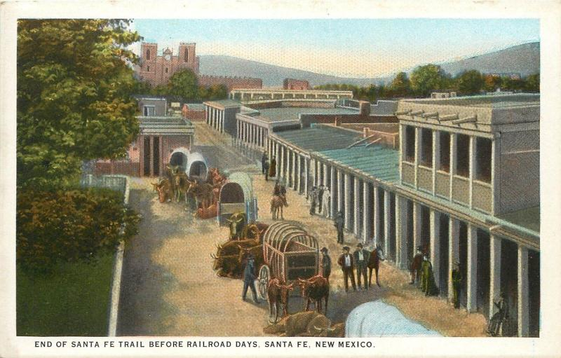 White Border Postcard; End of Santa Fe NM Trail before Railroad Days, Wagons