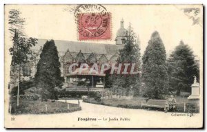 Old Postcard Fougeres The Public Garden