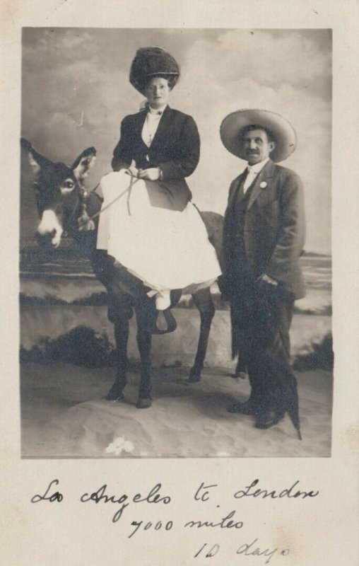 RP; Woman sitting on a Donkey, 1901-07