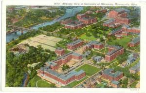 Air View University of Minnesota, Minneapolis, Minnesota, MN , 1940 Linen