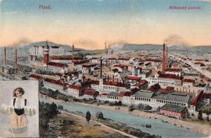 Pizen Czech Birds Eye View Antique Postcard J79662