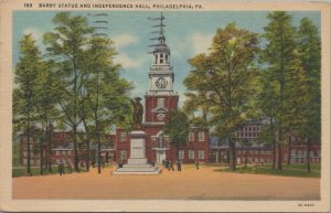 Vintage Postcard Barry Statue And Independence Hall, Philadelphia, 1955 Posted
