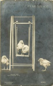 Postcard RPPC Swining Chicks