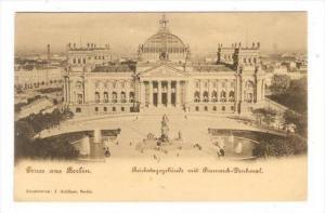 Gruss aus Berlin, Reichstagsgebade mit Bismark-Denkmal, Germany, 1890s