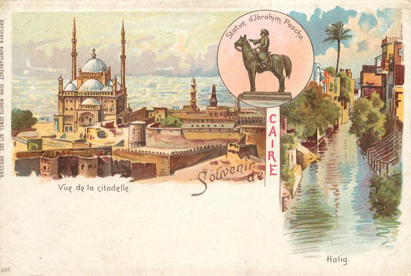 Grus Aus Style Postcard Cairo Caire Egypt Multiview Citadel Statue of Pascha