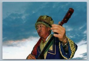 2011 ASIA ALTAI Master of throat singing Ethnic Mongolia Russian Photo Postcard