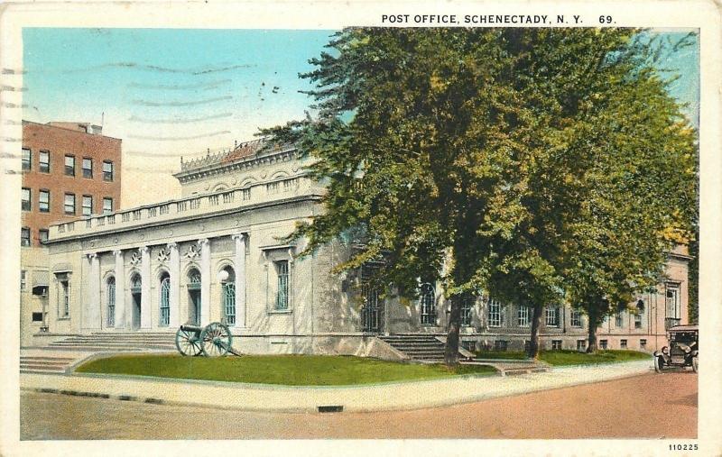 Schenectady New York~Post Office Corner View~Cannon~Car~Bldg in Background 1936