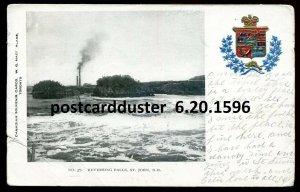 1596 - ST. JOHN NB Postcard 1905 Reversing Falls. Patriotic Crest by MacFarlane