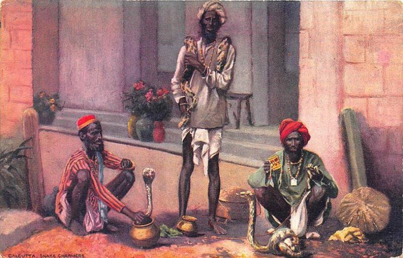 Native Life In India Calcutta Snake Charmers Raphael Tuck Postcard