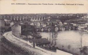 Limoges , France , 1900-10s ; Panorama des Trois Ponts