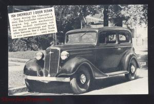 1934 CHEVROLET SEDAN AKRON IOWA VINTAGE CAR DEALER ADVERTISING POSTCARD