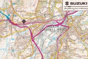 Suzuki Garage Bike Showrooms Skewen Neath Welsh Map Postcard
