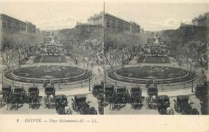 Early stereographic view EGYPT Cairo square Mahommed-Ali