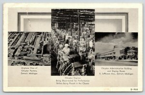 Detroit MI Art Deco Chrysler Display Room~Factory Workers Test Engines~1937 B&W
