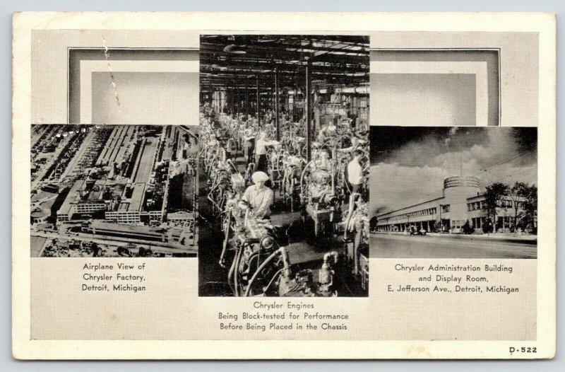 Detroit MI Art Deco Chrysler Display Room~Factory Workers Test Engines~1937 B&W