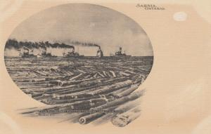 SARNIA , Ontario , 1901-07 ; Log raft & 5 Boats