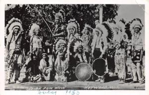 E19/ Native American Indian Photo RPPC Postcard 1953 Hayward Wisconsin Powwow 28