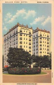 Miami Florida birds eye view Dallas Park Hotel linen antique pc Z19680