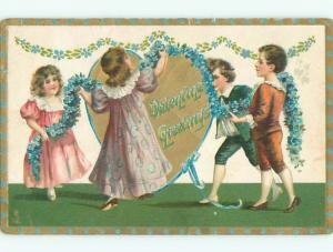 Pre-Linen valentine GIRLS AND BOYS HANG UP STRING OF FORGET-ME-NOT FLOWERS J0840