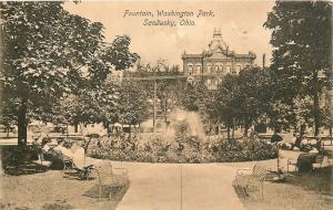 Sandusky OH~Fountain~Washington Park~2nd Empire Bldg~Benches 1920s Postcard