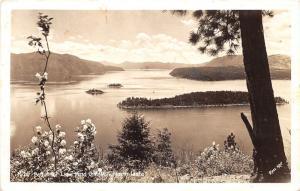 Lake Pend Oreille Idaho~Panoramic View Overlooking Lake~1949 RPPC Postcard