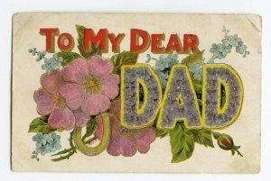 Postcard To My Dear DAD LARGE Letter Standard View Embossed Card