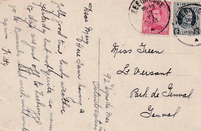 OSTENDE, Belgium, PU-1919 ; La Digue et le Pensionnat du Sacre Coeur