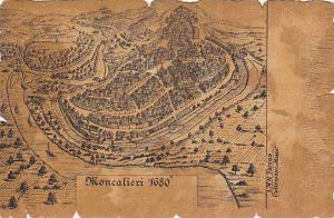 Sketch, Aerial View of Moncalieri, Piemonte, Italy, 1680, 00-10s
