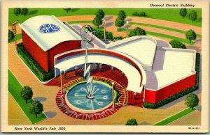 1939 NEW YORK WORLD'S FAIR Postcard General Electric Building Linen Unused